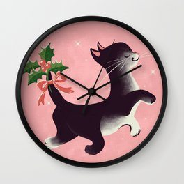 Holly Jolly Vintage Holiday Kitty Cat Cutie Wall Clock