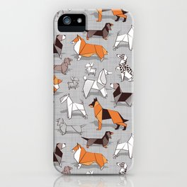 Origami doggie friends // grey linen texture background iPhone Case