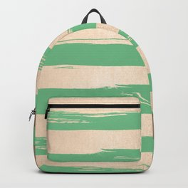 Painted Stripes Gold Tropical Green Backpack