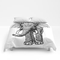 Comforters featuring Ornate Elephant by BIOWORKZ
