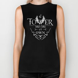 Tower of Sorcerers Motto (White) Biker Tank
