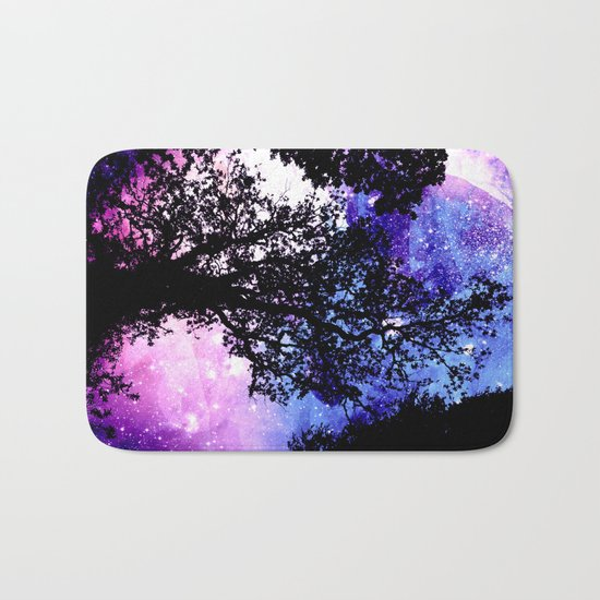 Black Trees Purple Space Bath Mat
