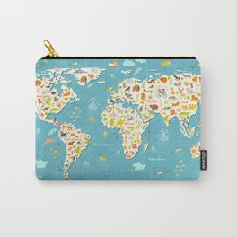 Animals world map. Beautiful cheerful colorful vector illustration for children and kids Carry-All Pouch