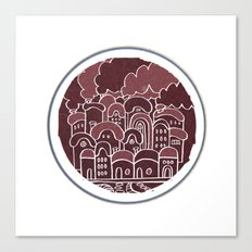 Round Houses in Maroon Canvas Print