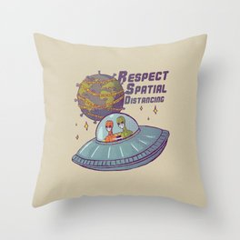 Respect Spatial Distancing - Aliens - T Shirt Global Crisis Social Distance Earth Virus Healthcare Workers Survived  Nurses Doctors MD Storm Area 51 for real Self Isolating Toilet Paper Throw Pillow