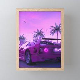 F40 Sunset Retro Framed Mini Art Print