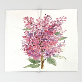 Pink Lilacs Floral Watercolor Garden Flower Nature Art Throw Blanket