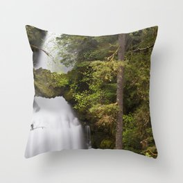 Curly Falls, Washington Throw Pillow
