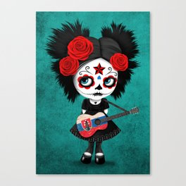 Day of the Dead Girl Playing Slovakian Flag Guitar Canvas Print