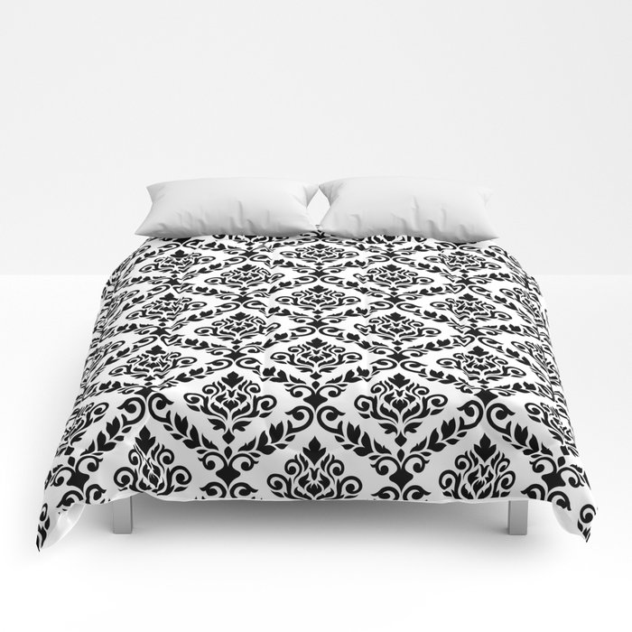 Prima Damask Pattern Black On White Comforters By Nataliepaskell