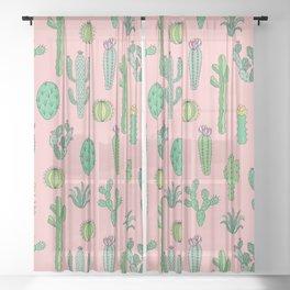 Cactus Pattern Pink Sheer Curtain