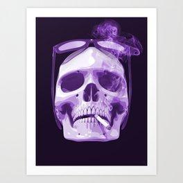 Skull Smoking Cigarette Purple Art Print