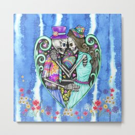 Hippie Skeletons Metal Print