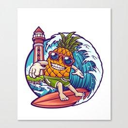 Big Wave Pineapple Surfer  Canvas Print