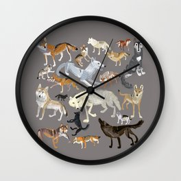 Wolves of the world 1 Wall Clock