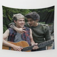 niall horan Wall Tapestries featuring Niall Horan x Zayn Malik by behindthenoise