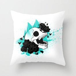 Skull 'n' Roses (ScribbleNetty-Colored) Throw Pillow