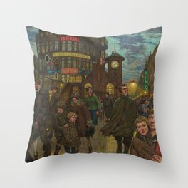 Bustling Berlin Street, Twilight, 1920's by Hans Baluschek Throw Pillow