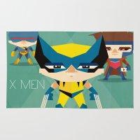 x men Area & Throw Rugs featuring X Men fan art by danvinci