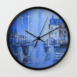 Quiet Harbour - boats safely moored Wall Clock