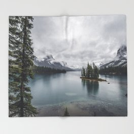 Maligne Lake Jasper Alberta Throw Blanket