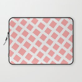 Coral Pink & White Diagonal Grid Pattern - Black & Pink - Mix & Match with Simplicity of Life Laptop Sleeve