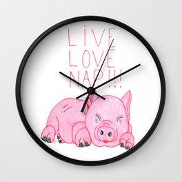 Pig napping Wall Clock