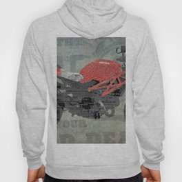 Red motorcycle newspaper collage, now is the time, original abstract artwork Hoody