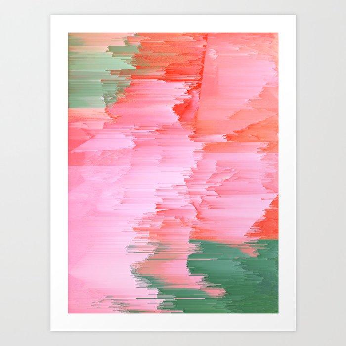 Romance Glitch - Pink & Living coral Art Print