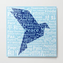 """Dove-origami on the background of the word """"Peace"""" in different languages of the World Metal Print"""