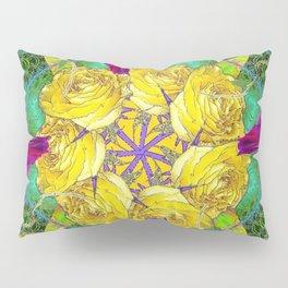 MYSTIC YELLOW ROSES MORNING GLORIES GREEN ART Pillow Sham