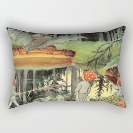 """Forest Children and the Bat"" by Elsa Beskow (1900) Rectangular Pillow"