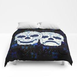 Comedy-Tragedy Sugar Skulls Cyan Comforters