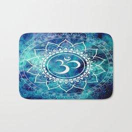 Galaxy Om Mandala Aqua Midnight Blue Bath Mat