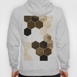 Honeycombs print, sepia colors hexagons with stone effect Hoody
