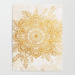 Queen Starring of Mandala-Gold Sunflower II Poster