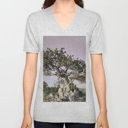Horses head for the corral in the daily roundup of horses Riverside Wyoming Unisex V-Neck
