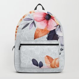 Antiqued Botanical Arrangement with Beads Backpack