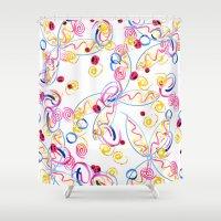 splatter Shower Curtains featuring splatter by lindseyclare