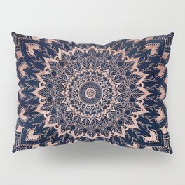 Boho rose gold floral mandala on navy blue watercolor Pillow Sham
