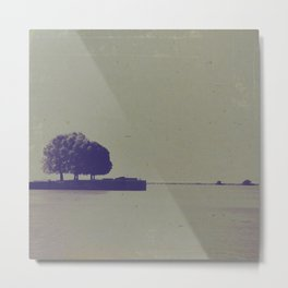 A textured potograph of the trees at the end of the pier Metal Print