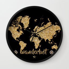 world map gold black wanderlust Wall Clock
