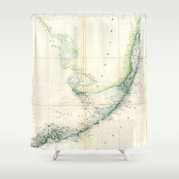 Vintage Map Of The Florida Keys 1859 Shower Curtain