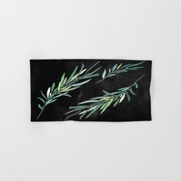 Eucalyptus leaves on chalkboard Hand & Bath Towel