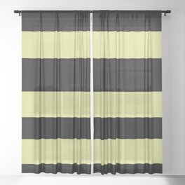 VA Lime Green - Lime Mousse - Bright Cactus Green - Celery Hand Drawn Fat Horizontal Lines on Black Sheer Curtain