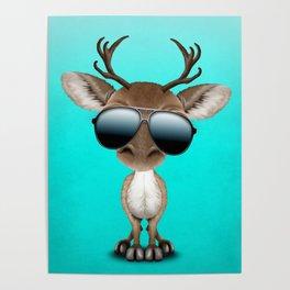 Cute Baby Reindeer Wearing Sunglasses Poster