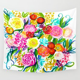 Bright Colorful Floral painting Wall Tapestry