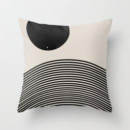 Woodblock Art, Mid Century illustration Throw Pillow