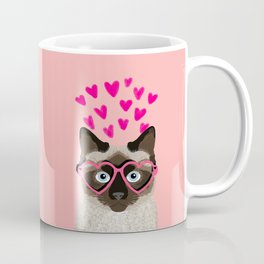 Siamese Cat valentines day gift for cat lady love heart romantic kitten pet friendly present for her Coffee Mug