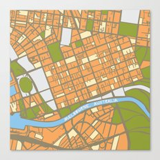 Vintage Style Map of Melbourne - ORANGE Canvas Print